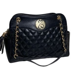 Open Hearts black quilted with gold chain like NEW